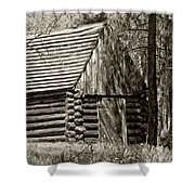 Log Building In The  Woods Shower Curtain