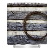 Log Cabin And Barbed Wire Shower Curtain