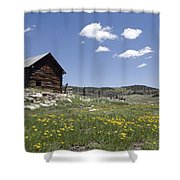 Log Cabin On The High Country Ranch Shower Curtain