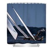 Log Canoe Race Shower Curtain by Skip Willits