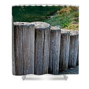 Log Handrail Shower Curtain
