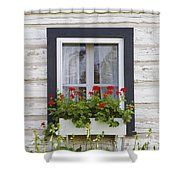 Log Home And Flower Box In The Window Shower Curtain