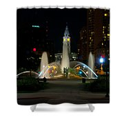 Logan Circle Fountain With City Hall At Night Shower Curtain by Bill Cannon