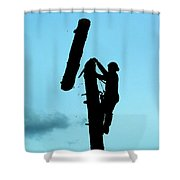 Logger Silhouette Shower Curtain