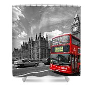 London Big Ben And Red Bus Shower Curtain