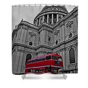 London Bus At St. Paul's Shower Curtain