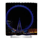London Eye All Done Up In Blue Light In The Night With A Small Reflection In The Thames Shower Curtain