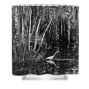 Lone Egret Black And White Shower Curtain