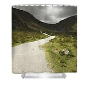 Lone Person Walking On A Path Leading Shower Curtain
