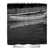 Lone White Boat In Nova Scotia Shower Curtain