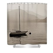 Lone White Boat On Lake Como In Sepia Shower Curtain