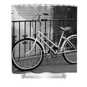 Lonely Bike In Black And White Shower Curtain