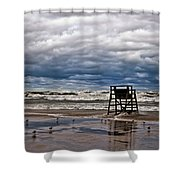 Lonely Lifeguard Chair 2 Shower Curtain