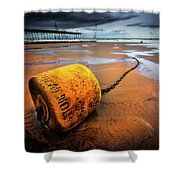 Lonely Yellow Buoy Shower Curtain