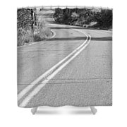 Long And Winding Road Bw Shower Curtain