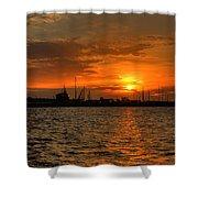 Long Beach Harbor Sunrise Shower Curtain