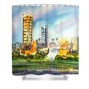 Long Beach Oil Islands Shower Curtain