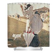 Long Branch Shower Curtain by Winslow Homer