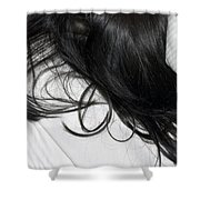 Long Dark Hair Of A Woman On White Pillow Shower Curtain