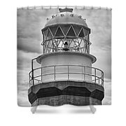 Long Point Lighthouse - Black And White Shower Curtain