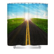 Long Road In Beautiful Nature  Shower Curtain