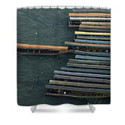 Long-tail Boats Anchored On The Chao Shower Curtain