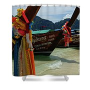 Long Tail Boats Shower Curtain