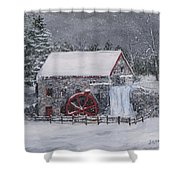 Longfellow's Grist Mill In Winter Shower Curtain