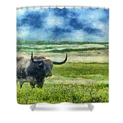 Longhorn Prarie Shower Curtain by Jeff Kolker