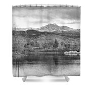 Longs Peak And Mt Meeker Sunrise At Golden Ponds Bw  Shower Curtain