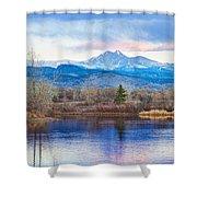 Longs Peak And Mt Meeker Sunrise At Golden Ponds Shower Curtain