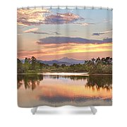 Longs Peak Evening Sunset View Shower Curtain