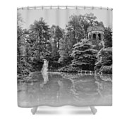 Longwood Gardens Castle In Black And White Shower Curtain