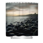 Looking Along Boulder Covered Beach Shower Curtain