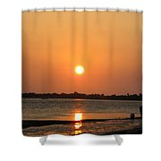 Looking For Shells On The The Beach - Dunedin Florida Shower Curtain