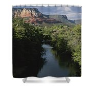Looking Up Oak Creek At The Red Rocks Shower Curtain