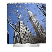 Looking Up Through Trees At Skyscrapers Shower Curtain by Axiom Photographic
