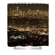 Los Angeles  City View At Night  Shower Curtain