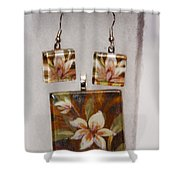 Lotus Flower Pendant And Earring Set Shower Curtain