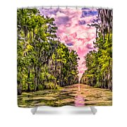 Louisiana Bayou Sunrise Shower Curtain