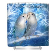 Love At Christmas Card Shower Curtain