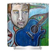 Love For Blue Guitar Shower Curtain