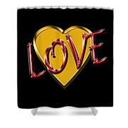 Love Gold And Red Shower Curtain