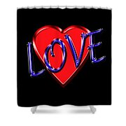 Love In Blue And Red Shower Curtain
