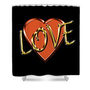 Love In Gold And Copper Shower Curtain