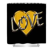 Love In Gold And Silver Shower Curtain