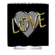 Love In Silver And Gold  Shower Curtain