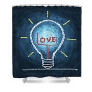 Love Word In Light Bulb Shower Curtain