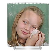 Lovely Girl With Pet Shower Curtain