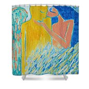 Loving An Angel Shower Curtain by Ana Maria Edulescu